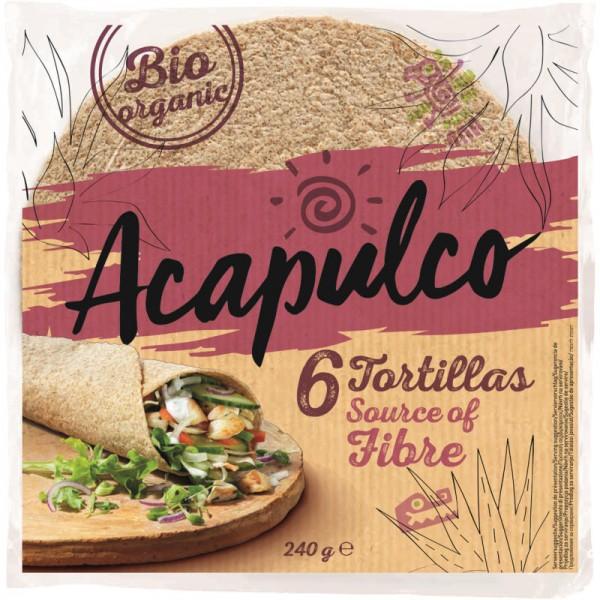 Tortillas 6 Wraps aus Vollkorn-Weizen Bio, 240g - Acapulco