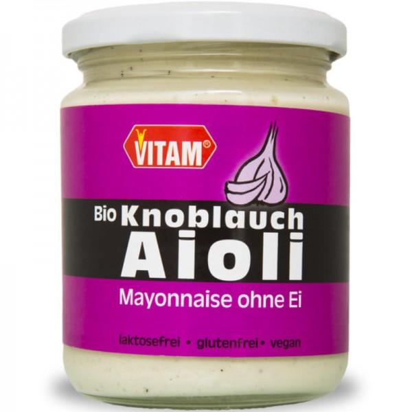 Knoblauch Aioli Mayonnaise ohne Ei Bio, 225ml - Vitam