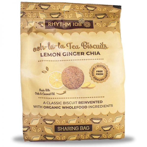 ooh-la-la Tea Biscuits Lemon, Ginger & Chia Bio, 135g - Rhythm 108
