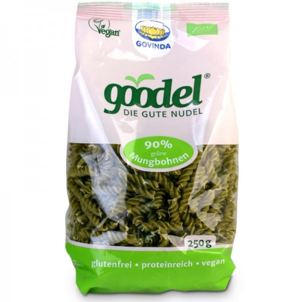 goodel 90% grüne Mungbohnen Fusilli Bio, 250g - Govinda