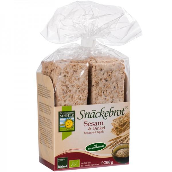 Sesam & Dinkel Snäckebrot Bio, 200g - Bohlsener Mühle