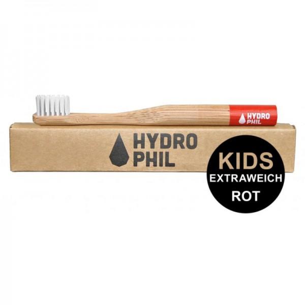 Kinder Bambus Zahnbürste 'Rot' mit extra weichen Borsten, 1 Stück - Hydrophil