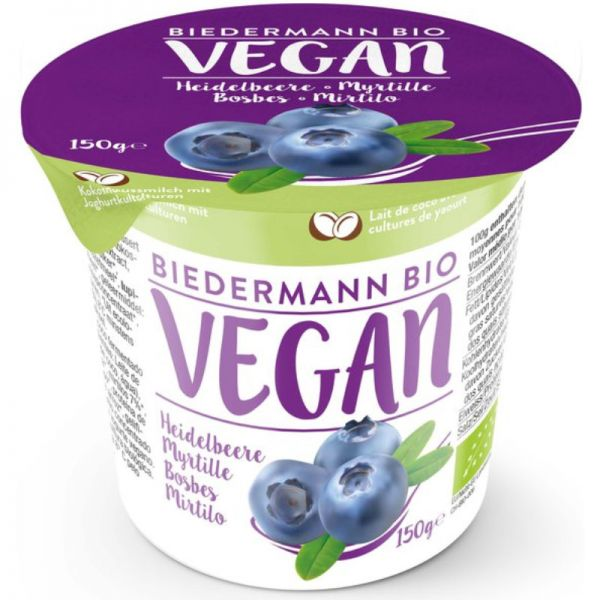 Kokosjoghurt mit Heidelbeeren Bio, 150g - Biedermann