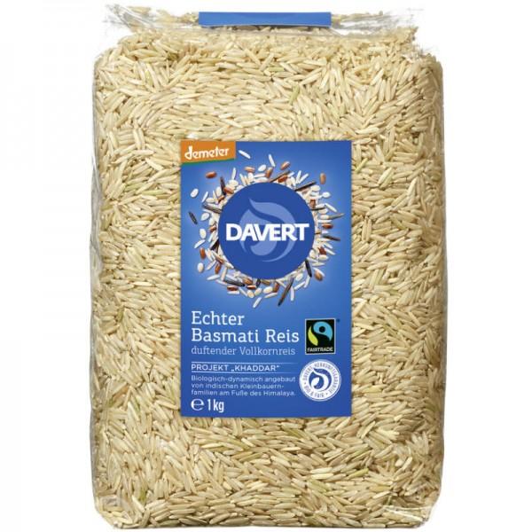Echter Basmati Reis duftender Vollkornreis Bio, 1kg - Davert