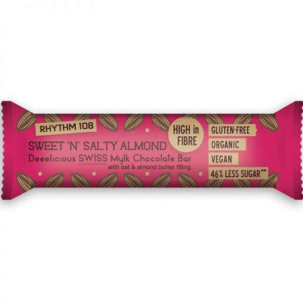 Deeelicious Swiss Mylk Chocolate Sweet 'N' Salty Almond Bar Bio, 33g - Rhythm 108