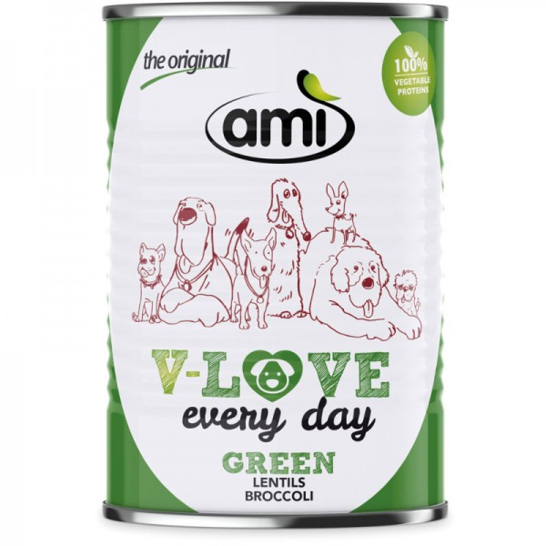 V-Love Green Hunde Nassfutter Lentils & Broccoli, 400g - Ami