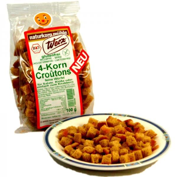 4-Korn Croûtons feine Würfel Bio, 100g  - Werz