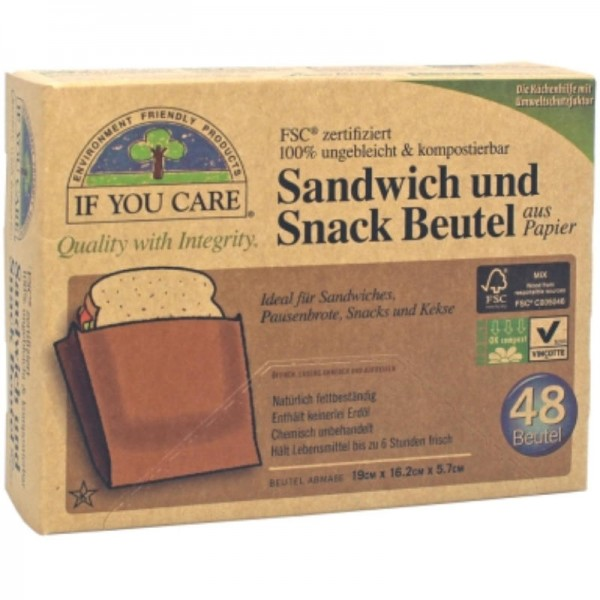 Sandwich- und Snackbeutel, Pack à 48 Stück - If You Care