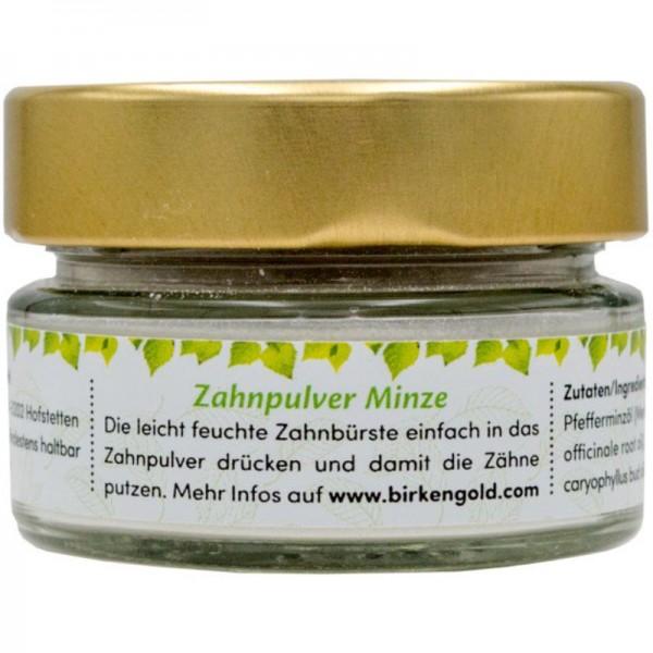 Zahnpulver Minze Glas, 30g - Birkengold