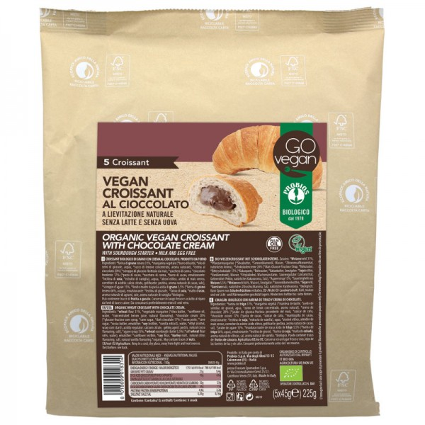 Weizencroissant mit Schokoladencreme Bio, 5 Stück à 45g - Probios