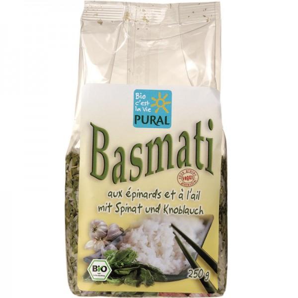 Basmati mit Spinat und Knoblauch Bio, 250g - Pural