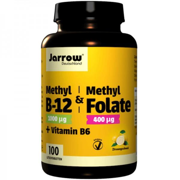 Methyl B12 & Methyl Folate + Vitamin B6 Lutschtabletten Zitrone, 100 Stück - Jarrow