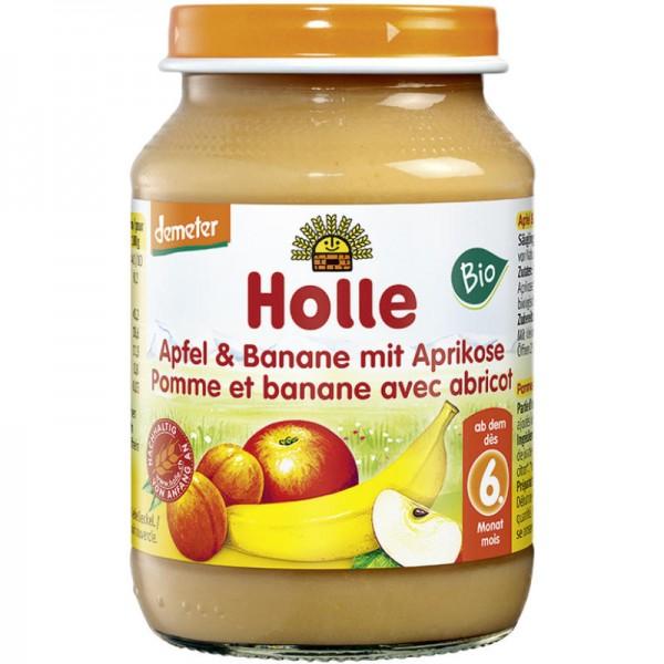 Apfel & Banane mit Aprikose Früchtegläschen Bio, 190g - Holle