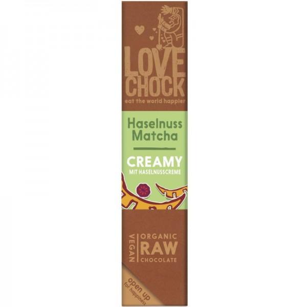 Roh-Schokoriegel Creamy mit Haselnuss & Matcha Bio, 40g - Lovechock