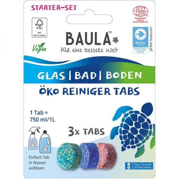 Starterset Glas-Bad-Boden Öko Reiniger Tabs, 3 Tabs - BioBaula