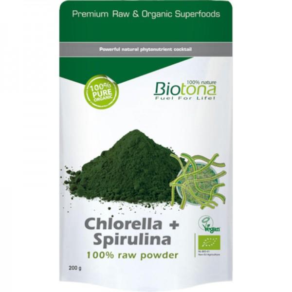 Chlorella + Spirulina Raw Powder Bio, 200g - Biotona