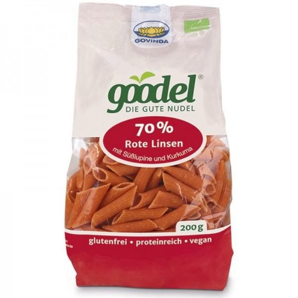 goodel 70% Rote Linsen mit Süsslupinen und Kurkuma Penne Bio, 200g - Govinda