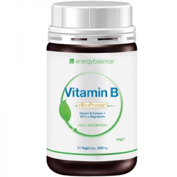 Vitamin B-Complex plus C High Absorption BioPerine und Magnesium 630mg, 90 VegeCaps - Energybalance