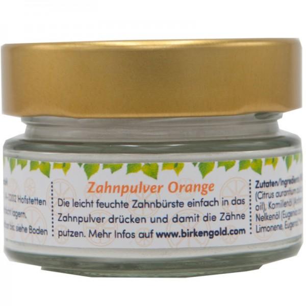 Zahnpulver Orange Kids Glas, 30g - Birkengold