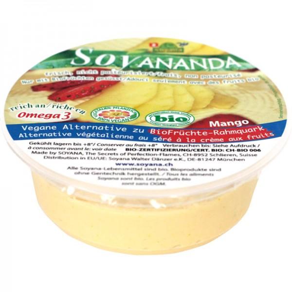 Mango Früchte vegane Rahmquark-Alternative Soyananda Bio, 125g - Soyana