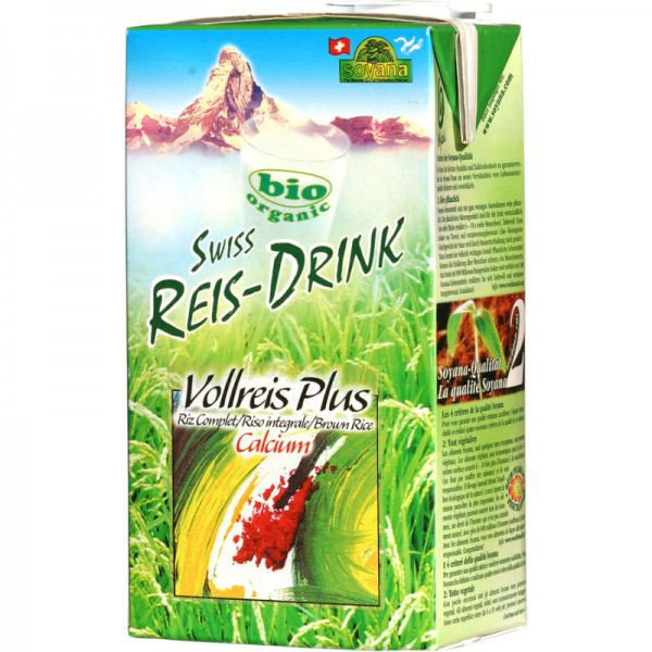 Vollreis Plus Calcium Swiss Reis-Drink Bio, 1L - Soyana