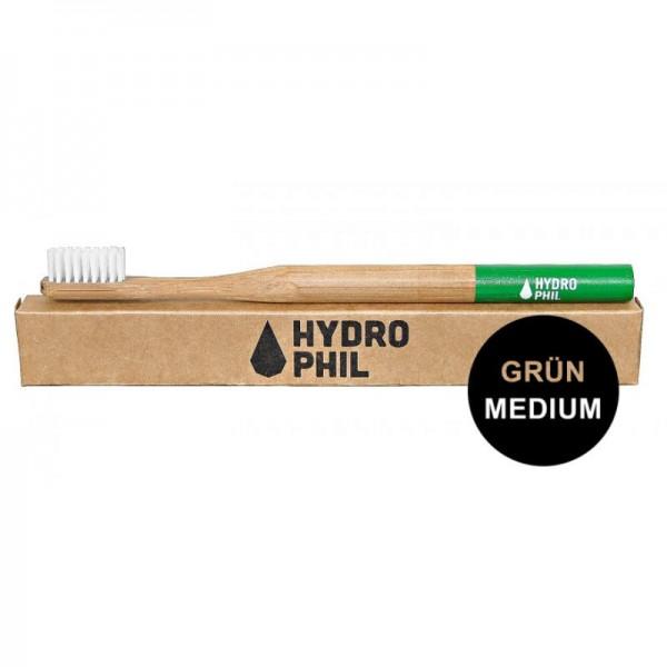 Bambus Zahnbürste 'Grün' mit mittel weichen Borsten, 1 Stück - Hydrophil