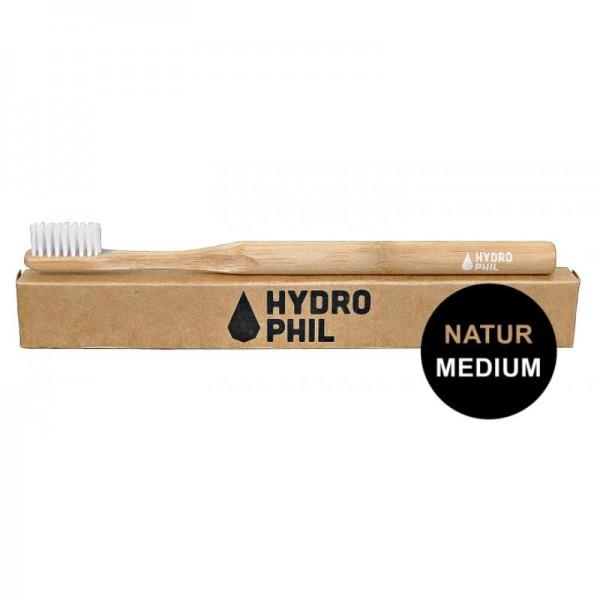 Bambus Zahnbürste 'Natur' mit mittel weichen Borsten, 1 Stück - Hydrophil