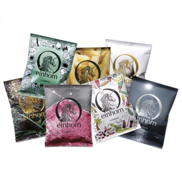 Kondome in der Chipstüte Überraschungs-Motiv, 1 Pack à 7 Stück - Einhorn Condoms