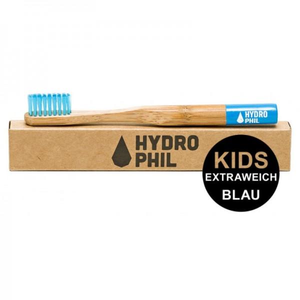 Kinder Bambus Zahnbürste 'Blau' mit extra weichen Borsten, 1 Stück - Hydrophil